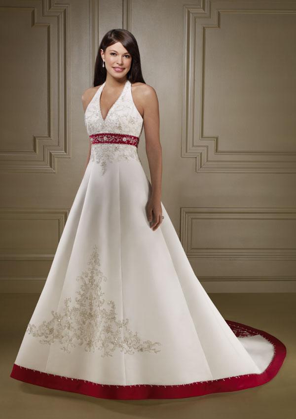White Red Wedding Dress